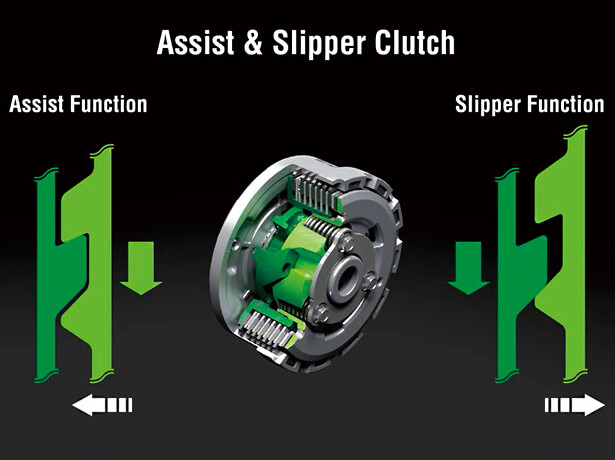New Ninja 400 มาพร้อม Assist & Slipper Clutch แบบใหม่ พัฒนาให้ก้านคลัชบีบง่ายขึ้น และปรับระยะการทำงานให้กว่าขึ้นกว่าเดิม เพิ่มประสิทธิภาพในการตัดต่อกำลังได้ดียิ่งขึ้น